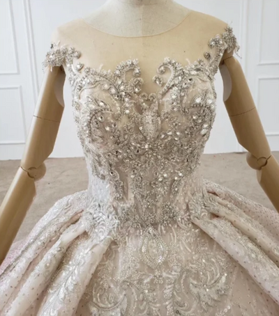 CG109 O-neck beading sequin crystal Quinceanera Dress
