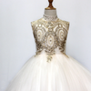 FG129 Turtleneck Gold embroidery Princess girl dress