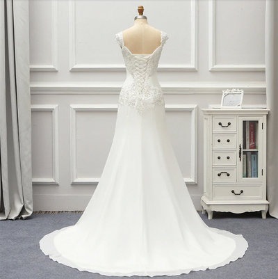 Vintage chiffon lace Wedding gown with court train
