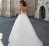 Plus size Illusion long sleeve tulle with lace beach Bridal Gown