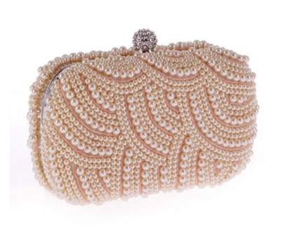 CB154 Pearl beaded Bridal Clutch Purses(3 Colors)