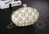 CB155 Egg Shape Peals diamonds beaded Evening Clutch Bag