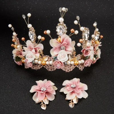 BJ137 Princess Flower Crown+Earrings