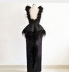 Organza Feather backless Evening Dresses