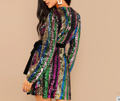 MX36 Long Sleeve Sequin Club Party  Dress