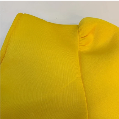 MX217 Plus size yellow one shoulder Party dress