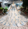 CG143 Real Photo long sleeve 3d flower beaded Ball gowns (2 Colors)