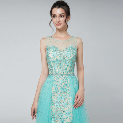 Elegant tulle crystal beaded A Line Evening Gown(Mint/Pink)