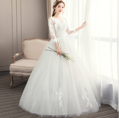 CW188 Cheap 3/4 sleeve Backless  Wedding Dress