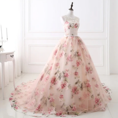 CG114 Floral Print Ball Gowns