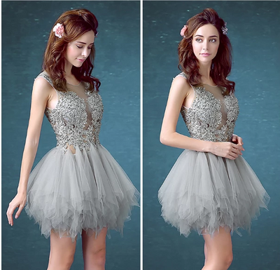 BH141 Lace Short Ball gown Homecoming Dresses (7Colors)