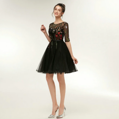 PP60  Plus size tulle embroidery Prom Dresses(Ivory/Black)