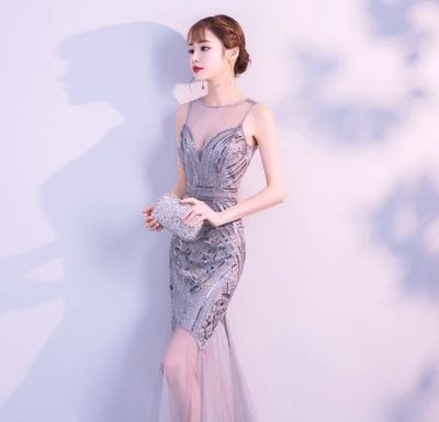 PP186 Sequins Beaded Mermaid Evening Dresses (4 Colors)