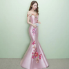 PP62 Embroidery off the shoulder Evening Dresses(3 Colors)