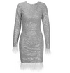 PP188 Silver Glitter long sleeve Feathers Prom Dress