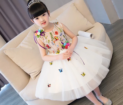 FG143 Embroidery Appliques ball gown flower Girl Dress