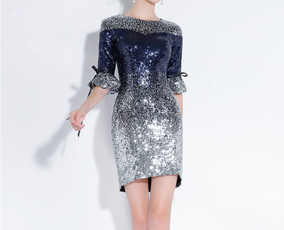 PP63 Sequined Gradient Silver Blue Cocktail Dress