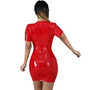 MX158 Sexy Deep V neck Latex Leather Bodycon Party Dress
