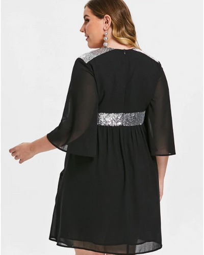 MX159 Plus Size 3/4 Flare Sleeve Sequined Waist Party Dress