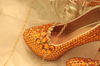 BS95 Orange crystal Wedding shoes with matching bags