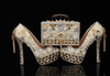 BS96 Luxury diamond & pearl Bridal shoes+maching bag