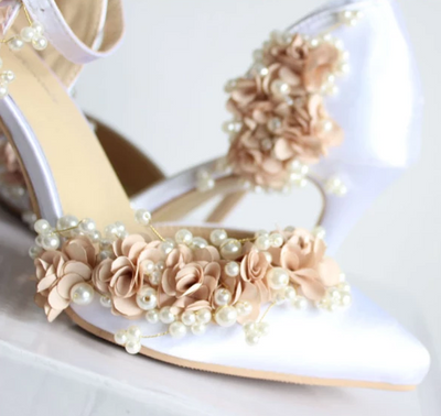 BS09 Fashion flower pearl Wedding Heels