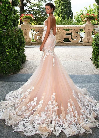 Glamorous Tulle 3D Lace Appliques Mermaid Wedding Dresses