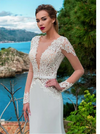 CW200 Illusion lace soft satin Boho Wedding Gown