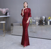 Burgundy sequin half sleeve mermaid Prom Dress