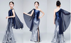 FG148 Navy Blue gradient One shoulder squins Pagent Girl Dress