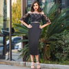 Plus Size Half Sleeves Black Cocktail Dress