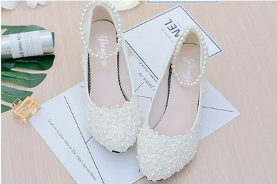 BS16 White Flower and pearls Wedding  Heels Shoes