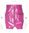 CK23 High Waist Latex Leather Mini Skirts(Pink/White/Black)