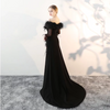 Black Off the shoulder 3/4 sleeve Sequin Feather Prom Dress