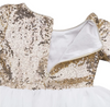 FG156 Long Sleeve Sequins Tutu Dresses+Headbnad(Rose Gold/Gold)
