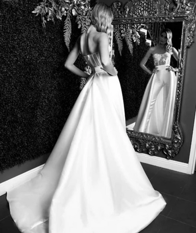 PD10 Unique Strapless Jumpsuits Wedding Dress