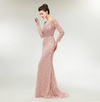 Luxury Long Sleeves Pearls Beaded Evening Gown (Pink/Silver)