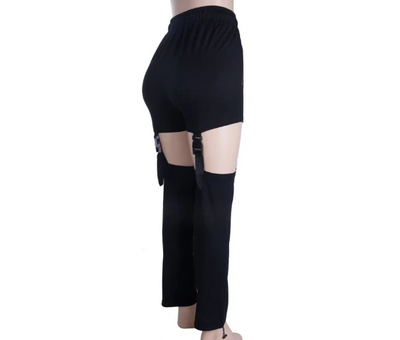 TP12 Kpop elastic high waist  zipper Pocket Pants