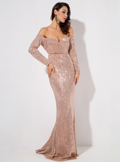 PP103 Long Sleeve Elastic Sequin Prom Dresses(4 Colors)