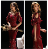 PP104 Plus Size Red Wine Embroidery Beaded Evening Gowns