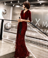 PP199 Half sleeve Velvet sequins fringe Evening Dresses (2 Colors)