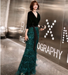 PP200 Green Velvet Half sleeve sequins fringe Evening Dress