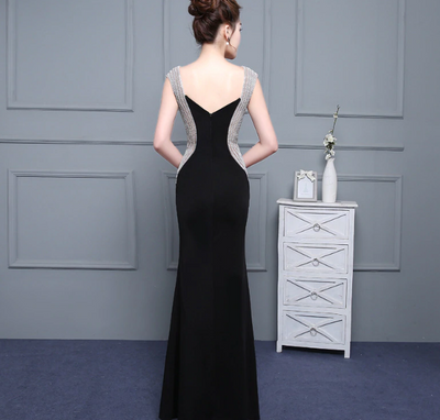 PP86 Black Satin Beaded Evening Dresses