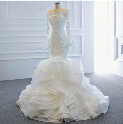 Real photo ruffle mermaid Wedding Gown