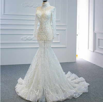 Real photo high neck pearls Beading sequined mermaid Wedding Gown