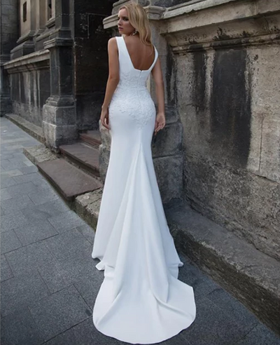 CW217 Minimal Soft Satin Appliques Lace Wedding Gown