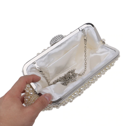 CB49 Shell shape pearls beaded Evening Clutch Bag (5 Colors)