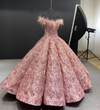 CG146 Real Photo Off the shoulder feather sequined Ball Gowns