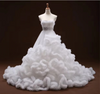 CG147 Strapless Sashes Crystal Ruffle Wedding Dresses  (7 Colors)