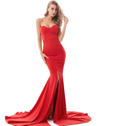 Sexy Strapless  Split Front Evening Dresses (Red/Black)